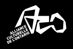 Logo blanc sur fond noir